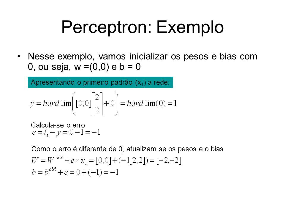 Perceptron: Exemplo Nesse exemplo, vamos inicializar os pesos e bias com 0, ou seja, w =(0,0) e b = 0 Calcula-se o erro Como o erro é diferente de 0,