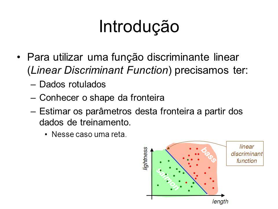 Introdução Para utilizar uma função discriminante linear (Linear Discriminant Function) precisamos ter: –Dados rotulados –Conhecer o shape da fronteir