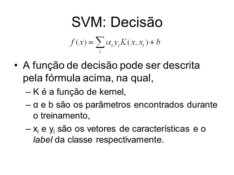 SVM: Decisão A função de decisão pode ser descrita pela fórmula acima, na qual, –K é a função de kernel, –α e b são os parâmetros encontrados durante