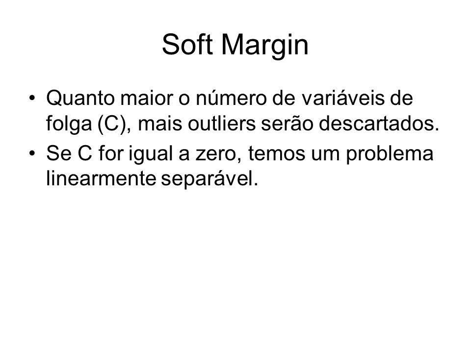 Soft Margin Quanto maior o número de variáveis de folga (C), mais outliers serão descartados. Se C for igual a zero, temos um problema linearmente sep