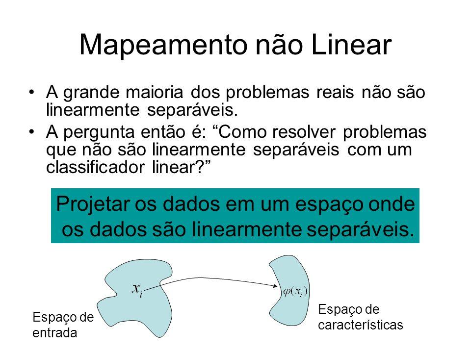 Mapeamento não Linear A grande maioria dos problemas reais não são linearmente separáveis. A pergunta então é: Como resolver problemas que não são lin