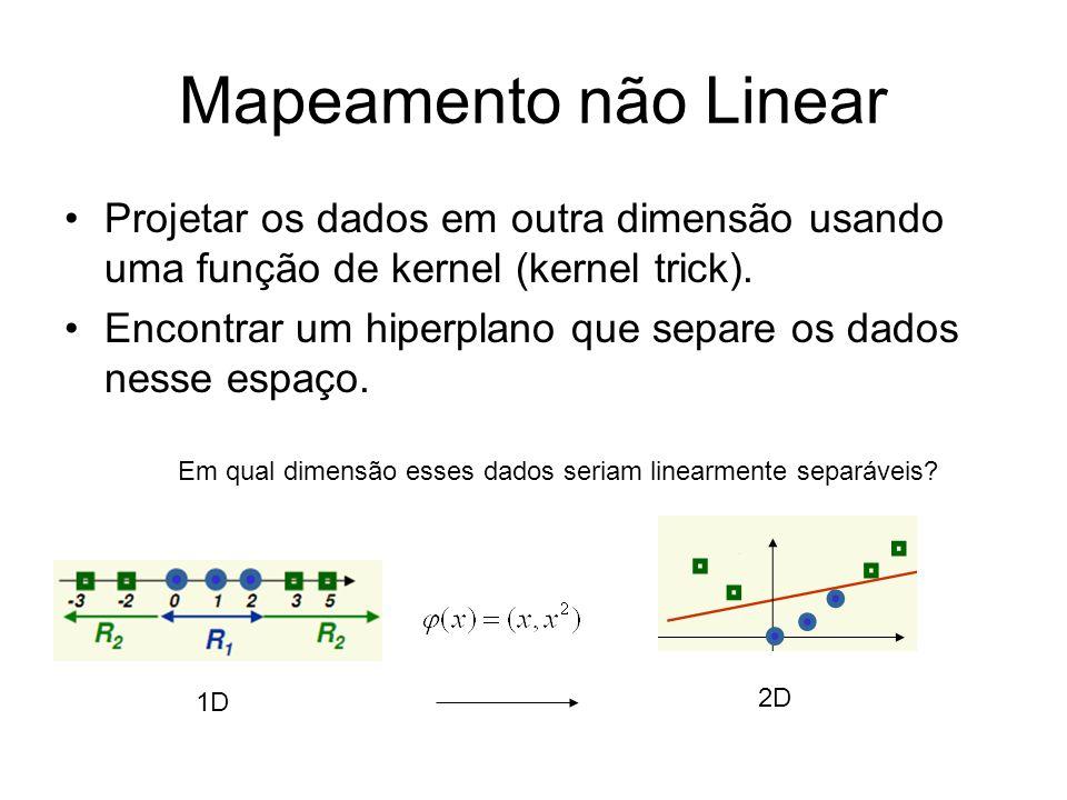 Mapeamento não Linear Projetar os dados em outra dimensão usando uma função de kernel (kernel trick). Encontrar um hiperplano que separe os dados ness