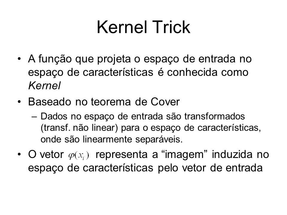 Kernel Trick A função que projeta o espaço de entrada no espaço de características é conhecida como Kernel Baseado no teorema de Cover –Dados no espaç