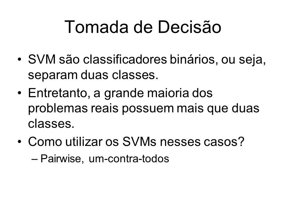 Tomada de Decisão SVM são classificadores binários, ou seja, separam duas classes. Entretanto, a grande maioria dos problemas reais possuem mais que d