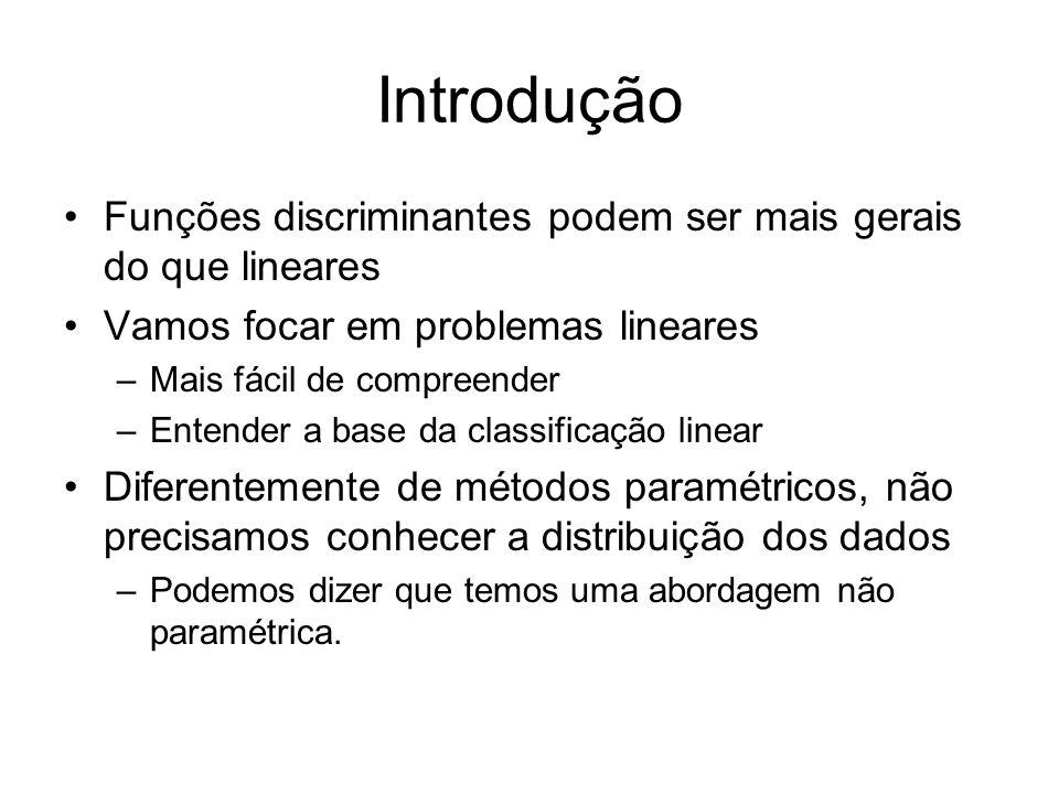 Introdução Funções discriminantes podem ser mais gerais do que lineares Vamos focar em problemas lineares –Mais fácil de compreender –Entender a base