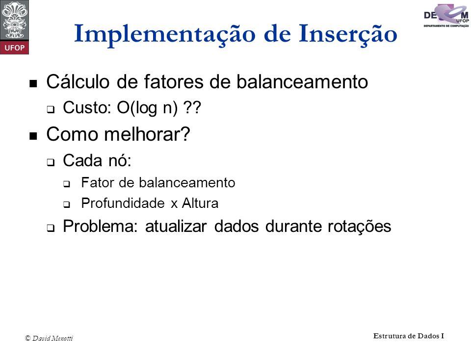 © David Menotti Estrutura de Dados I Implementação de Inserção Cálculo de fatores de balanceamento Custo: O(log n) ?? Como melhorar? Cada nó: Fator de