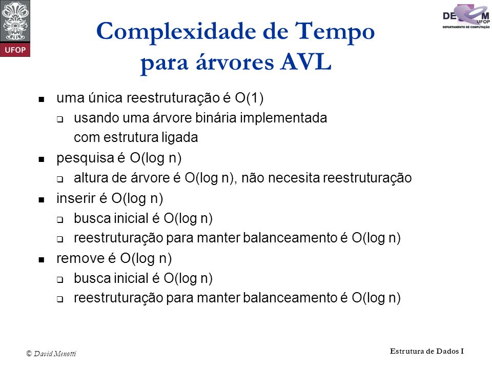 © David Menotti Estrutura de Dados I Complexidade de Tempo para árvores AVL uma única reestruturação é O(1) usando uma árvore binária implementada com