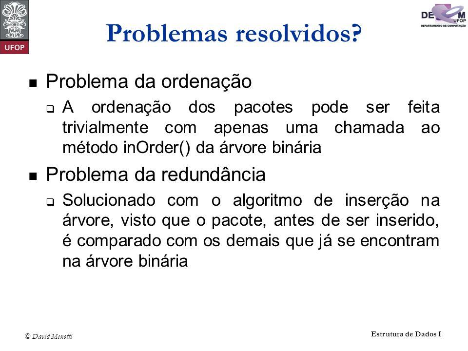 © David Menotti Estrutura de Dados I Problemas resolvidos? Problema da ordenação A ordenação dos pacotes pode ser feita trivialmente com apenas uma ch