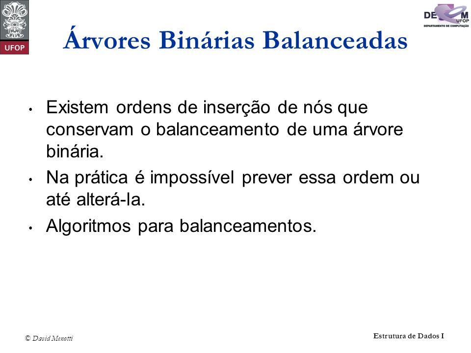 © David Menotti Estrutura de Dados I Existem ordens de inserção de nós que conservam o balanceamento de uma árvore binária. Na prática é impossível pr