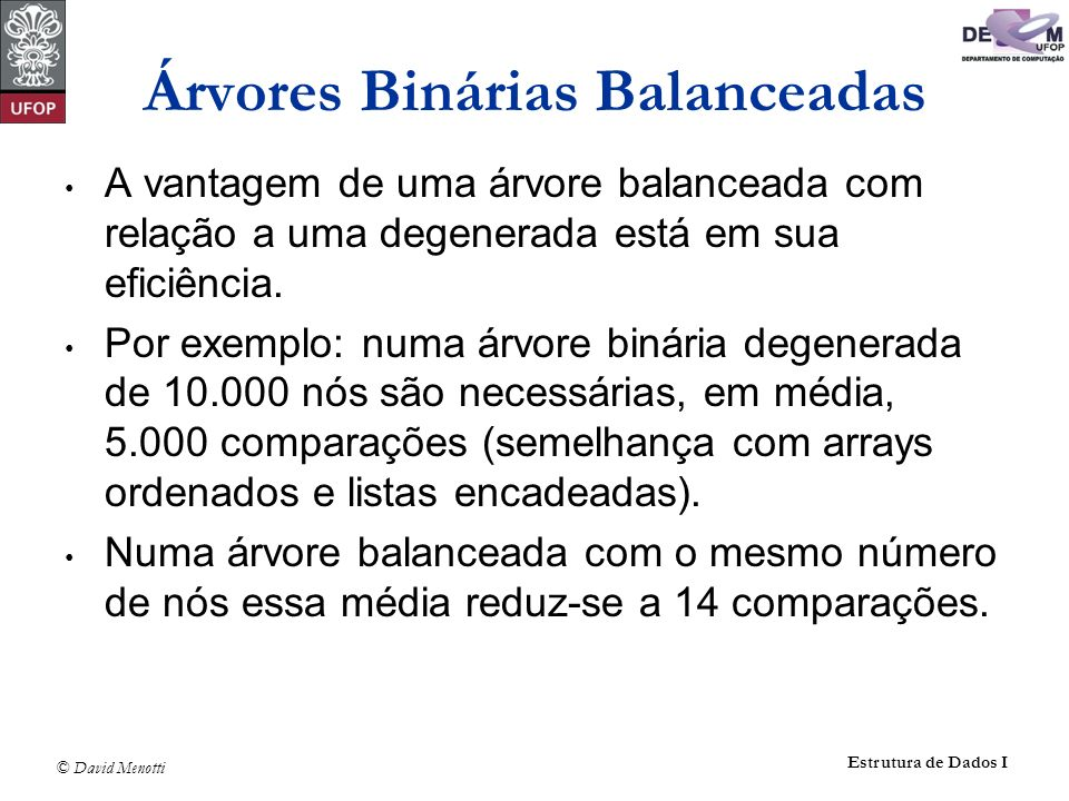 © David Menotti Estrutura de Dados I Exemplo de inserção (cont.) 88 44 17 78 3250 48 62 2 4 1 1 2 2 3 1 54 1 T 0 T 1 T 2 T 3 x y z desbalanceado balanceado T 1