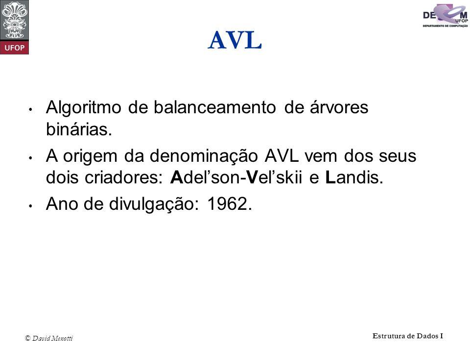© David Menotti Estrutura de Dados I Algoritmo de balanceamento de árvores binárias. A origem da denominação AVL vem dos seus dois criadores: Adelson-