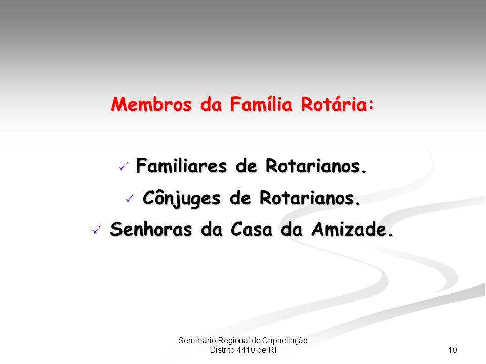 10 Seminário Regional de Capacitação Distrito 4410 de RI Membros da Família Rotária: Familiares de Rotarianos.
