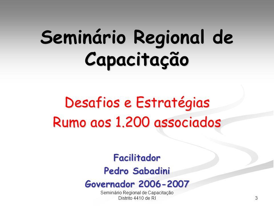 3 Seminário Regional de Capacitação Distrito 4410 de RI Seminário Regional de Capacitação Desafios e Estratégias Rumo aos 1.200 associados Facilitador Pedro Sabadini Governador 2006-2007