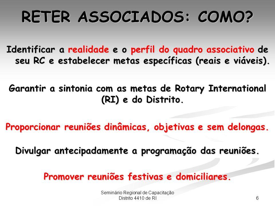 6 RETER ASSOCIADOS: COMO. Proporcionar reuniões dinâmicas, objetivas e sem delongas.