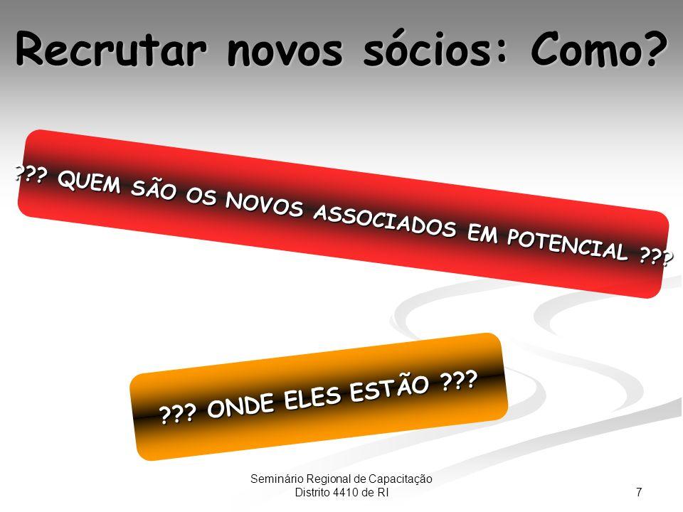 7 Seminário Regional de Capacitação Distrito 4410 de RI Recrutar novos sócios: Como.
