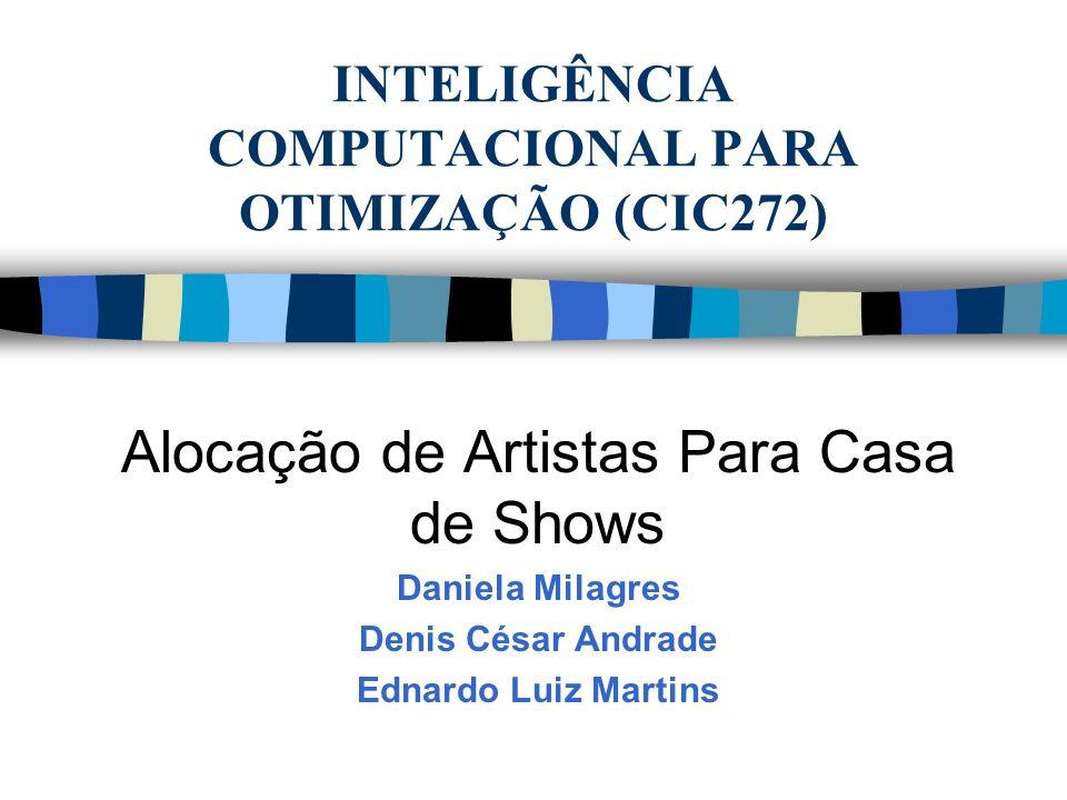 INTELIGÊNCIA COMPUTACIONAL PARA OTIMIZAÇÃO (CIC272) Alocação de Artistas Para Casa de Shows Daniela Milagres Denis César Andrade Ednardo Luiz Martins