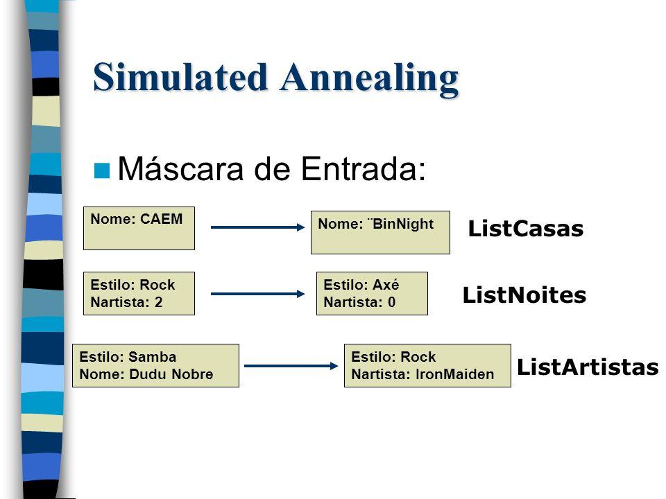 Máscara de Entrada: Simulated Annealing ListCasas ListNoites ListArtistas Nome: CAEM Nome: ¨BinNight Estilo: Rock Nartista: 2 Estilo: Axé Nartista: 0