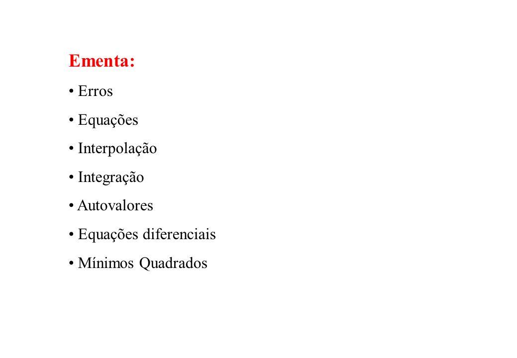 Avaliação : - listas de exercícios (50% da nota) - provinhas (50% da nota) Livro texto para Métodos Numéricos : E.