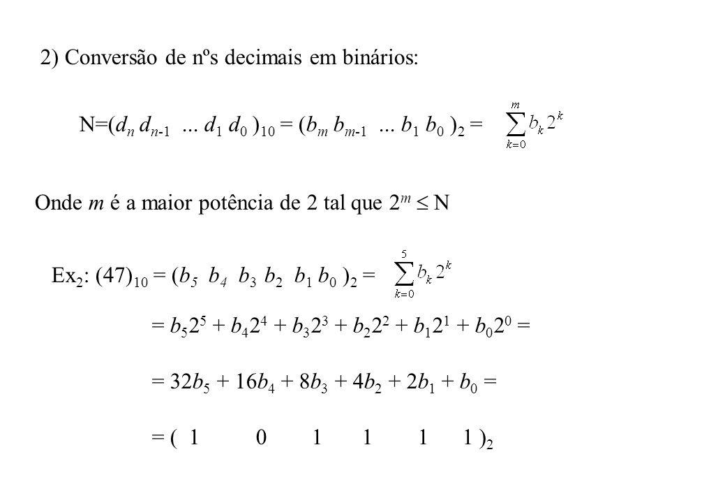 3) Representação de nºs decimais fracionários: f=(0.d 1 d 2...