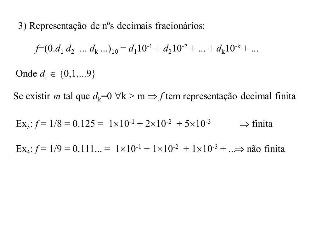 4) Conversão de nºs decimais fracionários em binários: f=(0.d 1 d 2...