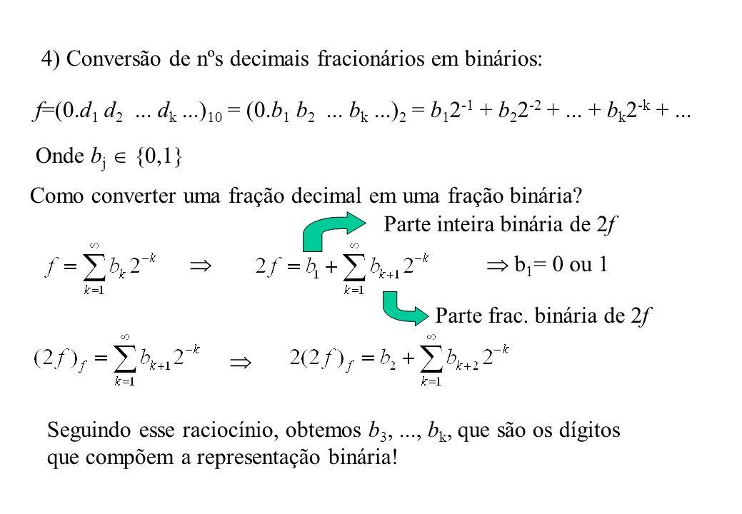 5) Aritmética de ponto flutuante Seja x um número qualquer na base em aritmética de ponto flutuante de t dígitos: x = ±(.d 1 d 2...