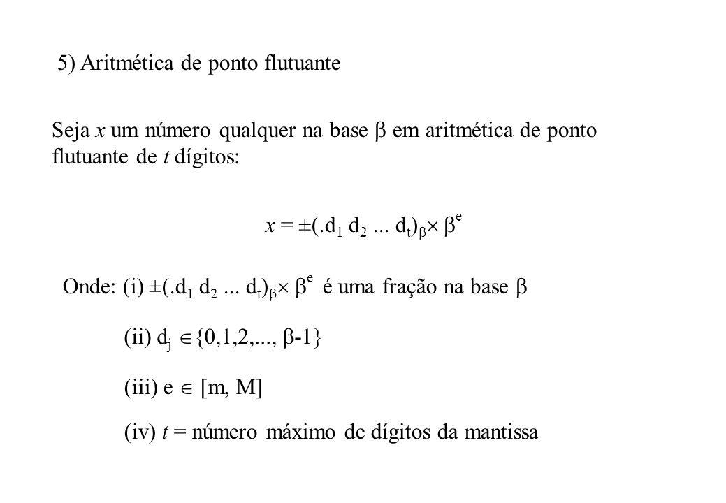 Um número não pode ser representado se o expoente e estiver fora dos limites m e M.