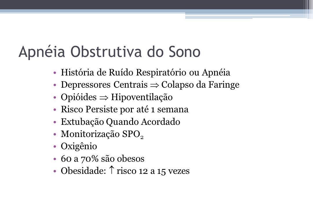 Apnéia Obstrutiva do Sono História de Ruído Respiratório ou Apnéia Depressores Centrais Colapso da Faringe Opióides Hipoventilação Risco Persiste por