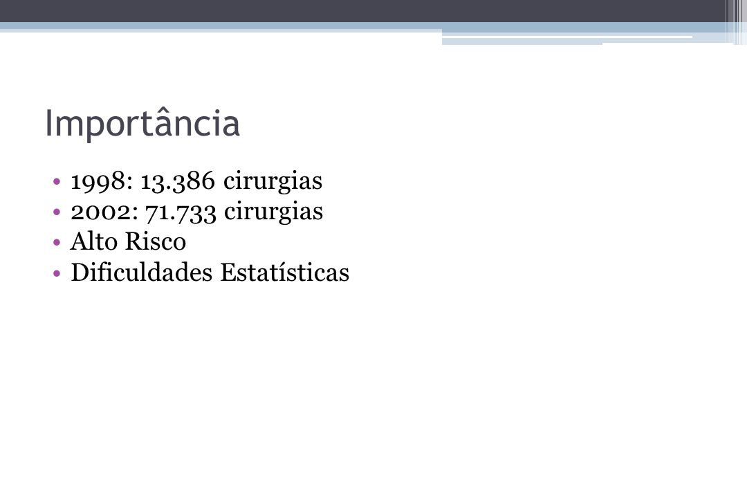 1998: 13.386 cirurgias 2002: 71.733 cirurgias Alto Risco Dificuldades Estatísticas Importância