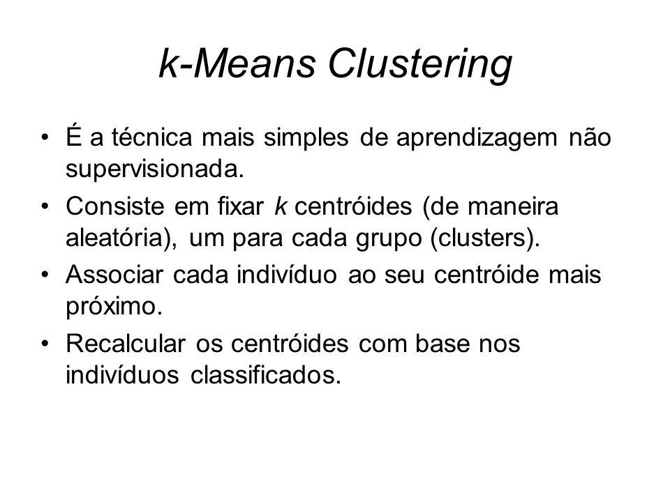 k-Means Clustering É a técnica mais simples de aprendizagem não supervisionada. Consiste em fixar k centróides (de maneira aleatória), um para cada gr