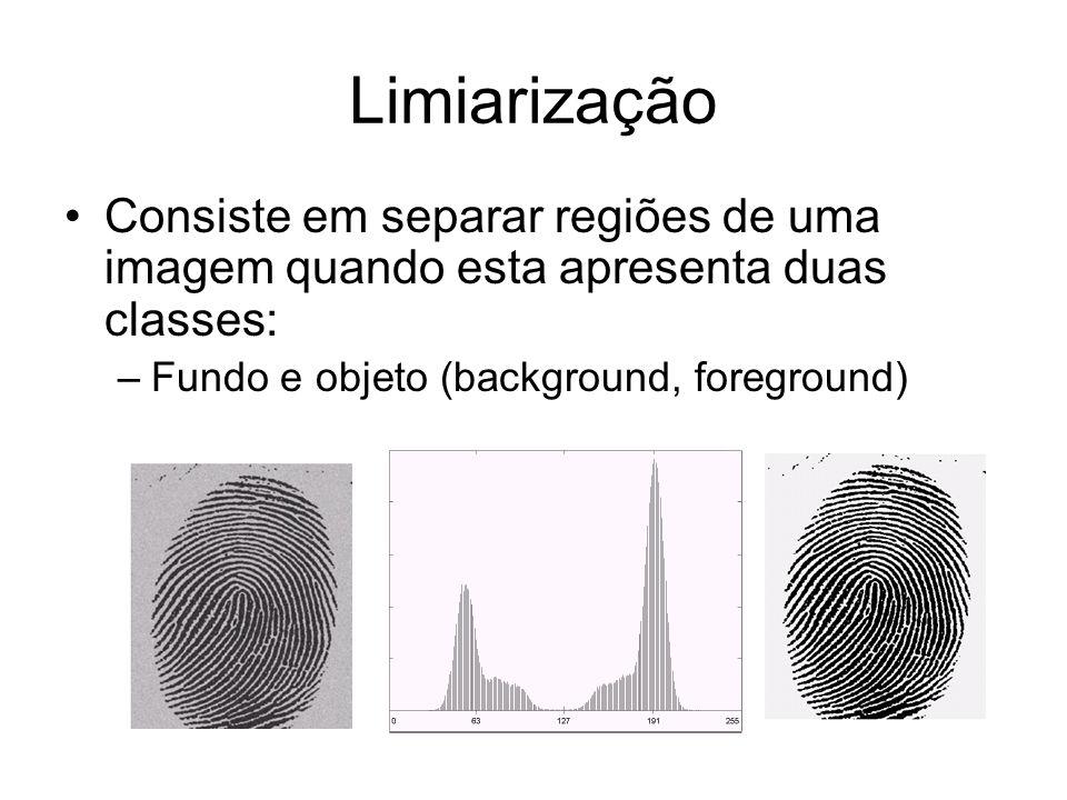 Limiarização Consiste em separar regiões de uma imagem quando esta apresenta duas classes: –Fundo e objeto (background, foreground)