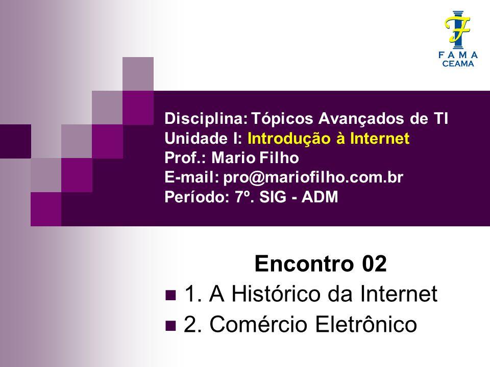 Disciplina: Tópicos Avançados de TI Unidade I: Introdução à Internet Prof.: Mario Filho E-mail: pro@mariofilho.com.br Período: 7º. SIG - ADM Encontro