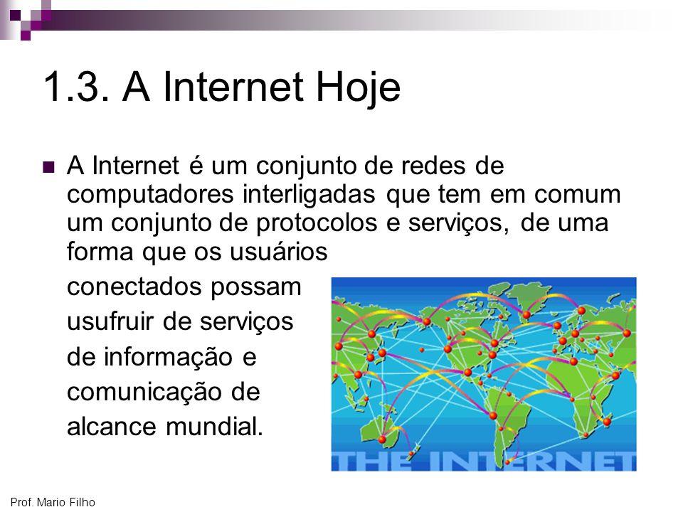Prof. Mario Filho 1.3. A Internet Hoje A Internet é um conjunto de redes de computadores interligadas que tem em comum um conjunto de protocolos e ser