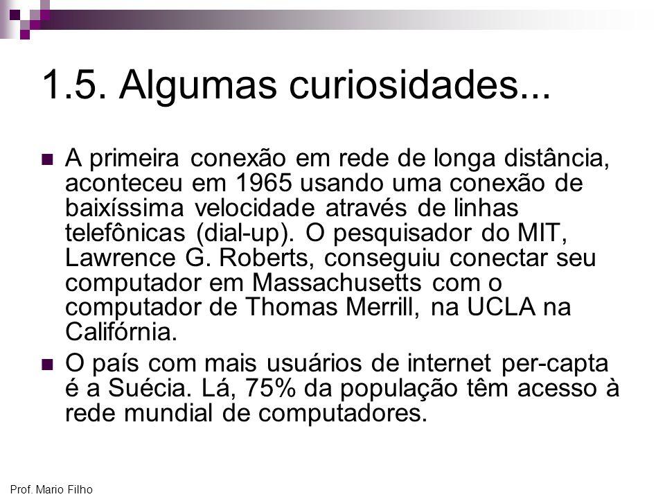 Prof. Mario Filho 1.5. Algumas curiosidades... A primeira conexão em rede de longa distância, aconteceu em 1965 usando uma conexão de baixíssima veloc