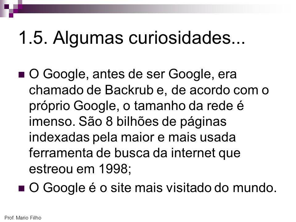 Prof. Mario Filho 1.5. Algumas curiosidades... O Google, antes de ser Google, era chamado de Backrub e, de acordo com o próprio Google, o tamanho da r