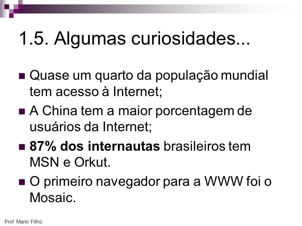 Prof. Mario Filho 1.5. Algumas curiosidades... Quase um quarto da população mundial tem acesso à Internet; A China tem a maior porcentagem de usuários