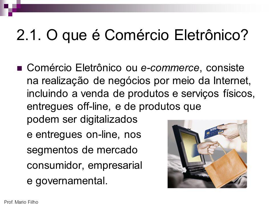 Prof. Mario Filho 2.1. O que é Comércio Eletrônico? Comércio Eletrônico ou e-commerce, consiste na realização de negócios por meio da Internet, inclui