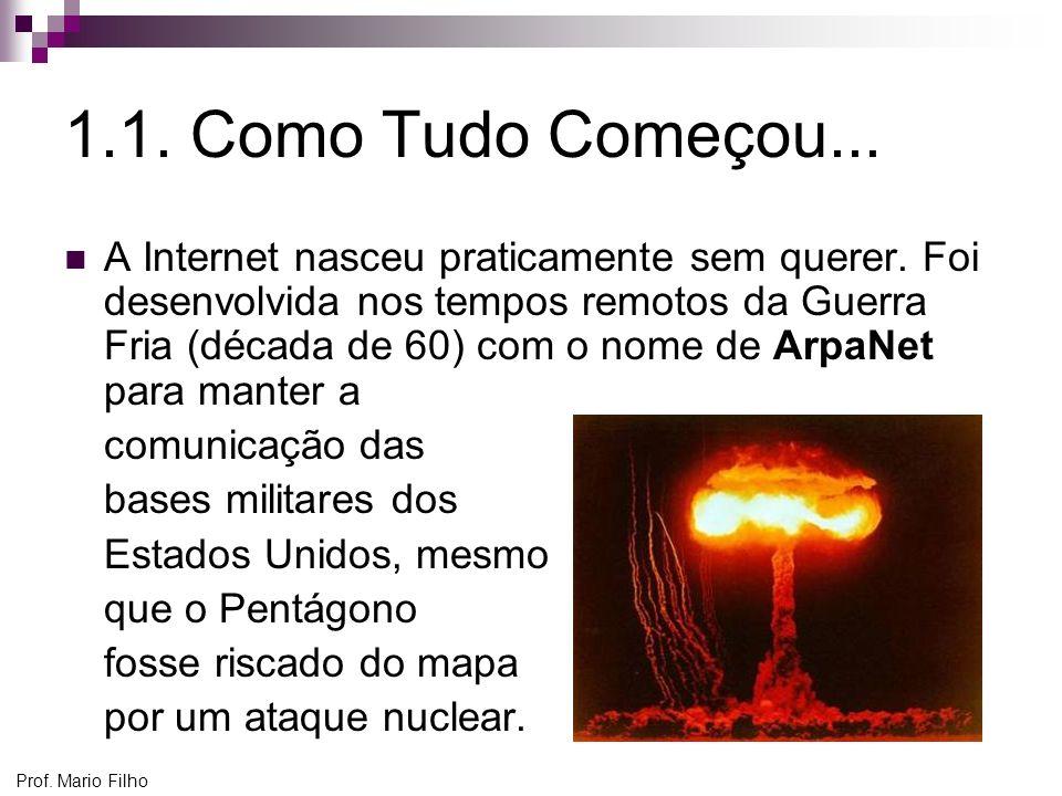 Prof. Mario Filho 1.1. Como Tudo Começou... A Internet nasceu praticamente sem querer. Foi desenvolvida nos tempos remotos da Guerra Fria (década de 6