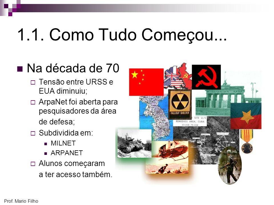 Prof. Mario Filho 1.1. Como Tudo Começou... Na década de 70 Tensão entre URSS e EUA diminuiu; ArpaNet foi aberta para pesquisadores da área de defesa;