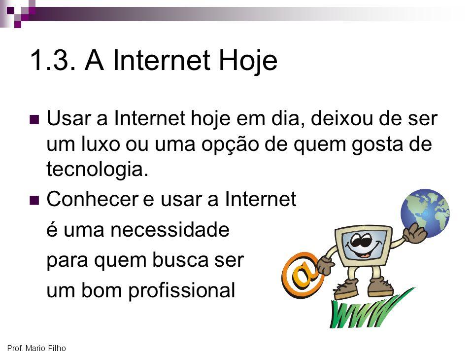 Prof. Mario Filho 1.3. A Internet Hoje Usar a Internet hoje em dia, deixou de ser um luxo ou uma opção de quem gosta de tecnologia. Conhecer e usar a