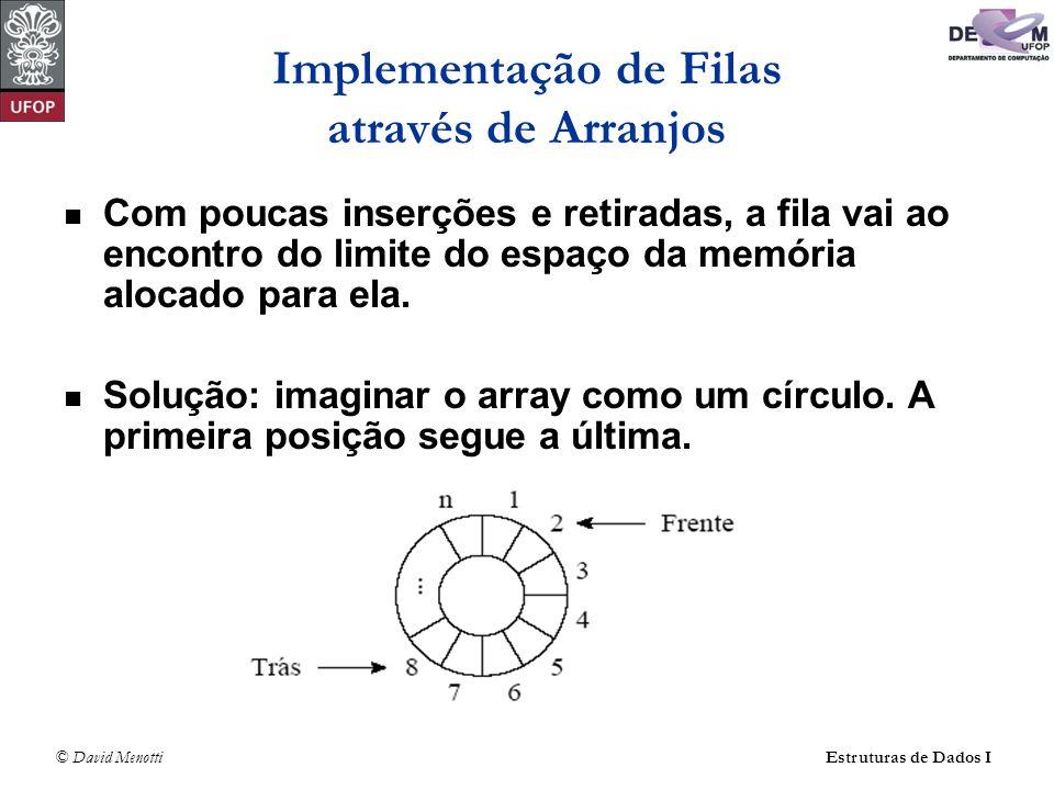 © David Menotti Estruturas de Dados I Implementação de Filas através de Arranjos A fila se encontra em posições contíguas de memória, em alguma posição do círculo, delimitada pelos apontadores Frente e Trás.