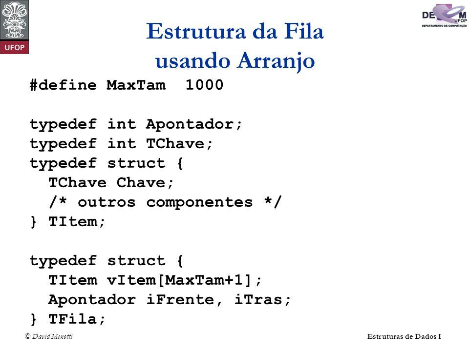 © David Menotti Estruturas de Dados I Estrutura da Fila usando Arranjo #define MaxTam 1000 typedef int Apontador; typedef int TChave; typedef struct { TChave Chave; /* outros componentes */ } TItem; typedef struct { TItem vItem[MaxTam+1]; Apontador iFrente, iTras; } TFila;