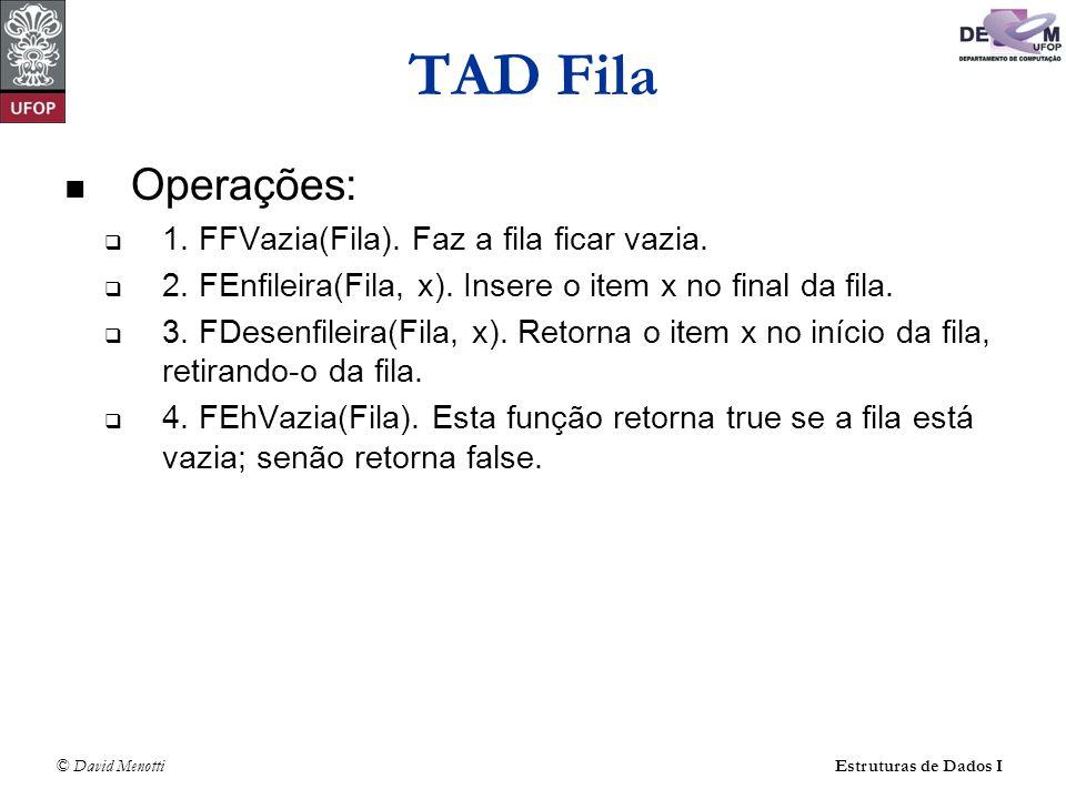 © David Menotti Estruturas de Dados I TAD Fila Operações: 1.
