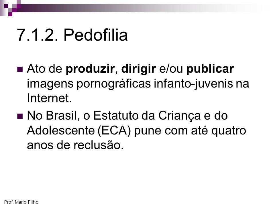 Prof. Mario Filho 7.1.2. Pedofilia Ato de produzir, dirigir e/ou publicar imagens pornográficas infanto-juvenis na Internet. No Brasil, o Estatuto da