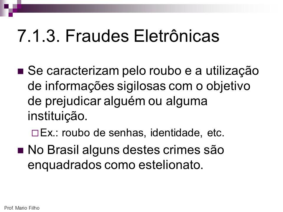 Prof. Mario Filho 7.1.3. Fraudes Eletrônicas Se caracterizam pelo roubo e a utilização de informações sigilosas com o objetivo de prejudicar alguém ou
