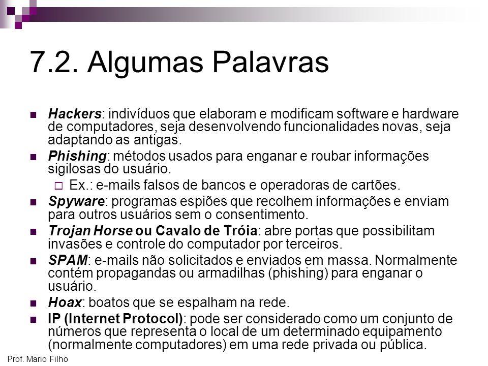 Prof. Mario Filho 7.2. Algumas Palavras Hackers: indivíduos que elaboram e modificam software e hardware de computadores, seja desenvolvendo funcional