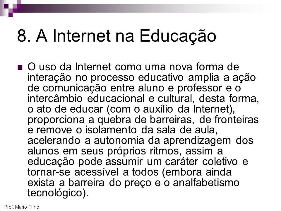 Prof. Mario Filho 8. A Internet na Educação O uso da Internet como uma nova forma de interação no processo educativo amplia a ação de comunicação entr