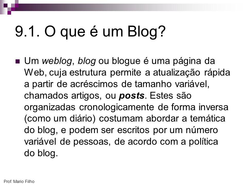 Prof. Mario Filho 9.1. O que é um Blog? Um weblog, blog ou blogue é uma página da Web, cuja estrutura permite a atualização rápida a partir de acrésci