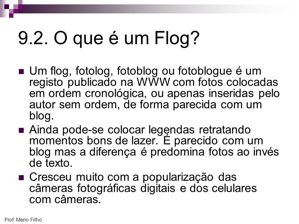 9.2. O que é um Flog? Um flog, fotolog, fotoblog ou fotoblogue é um registo publicado na WWW com fotos colocadas em ordem cronológica, ou apenas inser