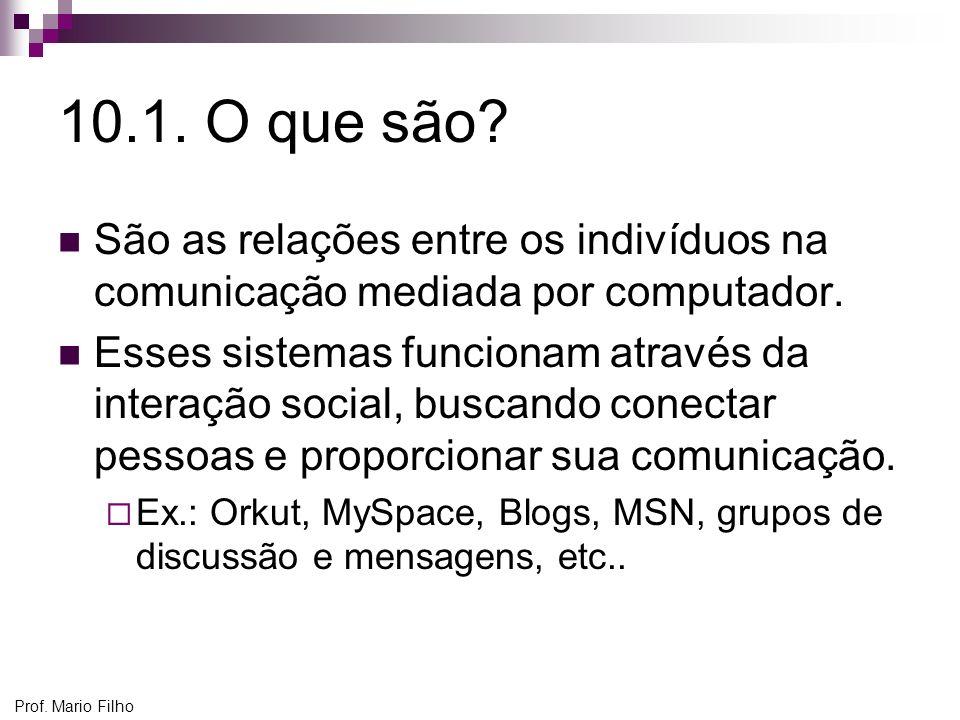 Prof. Mario Filho 10.1. O que são? São as relações entre os indivíduos na comunicação mediada por computador. Esses sistemas funcionam através da inte