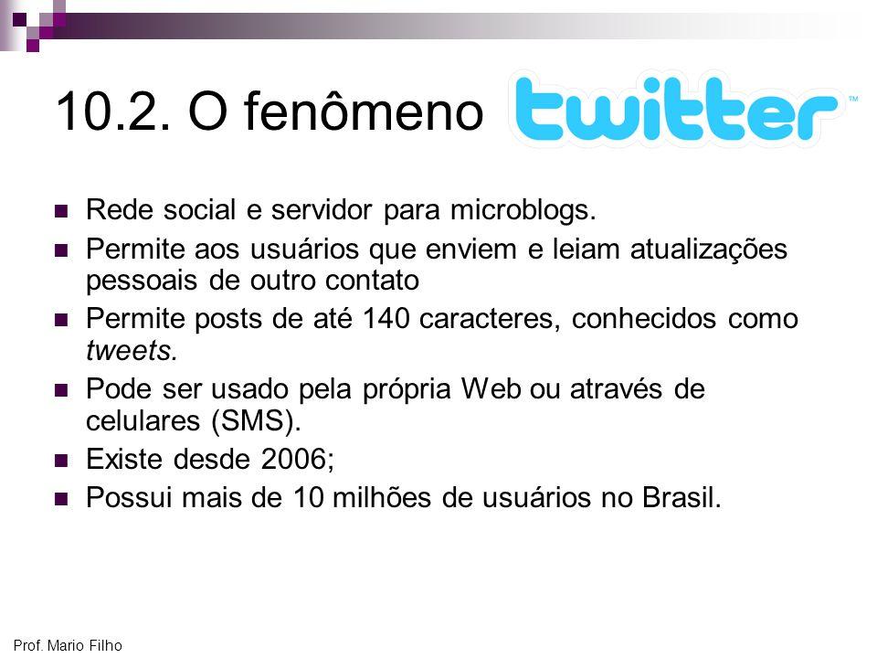 10.2. O fenômeno Rede social e servidor para microblogs. Permite aos usuários que enviem e leiam atualizações pessoais de outro contato Permite posts
